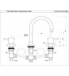 Basin Mixer  FLR-5189N   Hole Basin Mixer without PopupWaste 