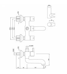Wall Mixer FLR-5267N  with Connector for Hand Shower arrangement with Connecting Legs,