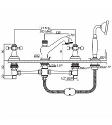 Wall MixerQQT-7277 4-Hole Bath Tub Mixer consisting of 2 No. Control Cocks, 1 Spout,1 Telephone Shower